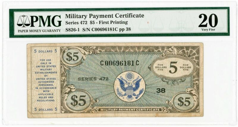 Military Payment Certificate Series 472 $5 First Printing VF20 PMG 927081-2