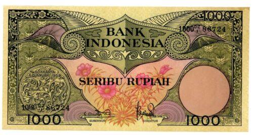 Indonesia  ... P-71b... 1,000 Rupiah ... 1959 ...  *AU-UNC*
