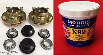 """Trailer Wheel Hubs 1"""" Bearings Races Caps Grease Stub Axle Car Bike Boat Quad for sale  Widnes"""
