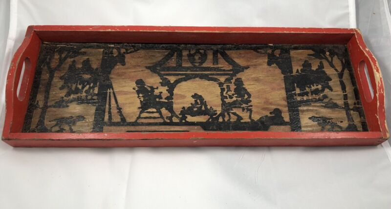 Collectible Vintage Wooden Serving Silhouette Tray