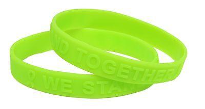 Lime Green Ribbon Awareness Embossed Silicone Bracelet