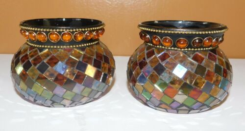 2 PartyLite Global Fusion Stained Glass Mosaic Candle Tealight Cups