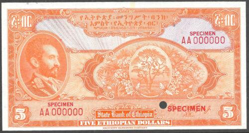 ETHIOPIA P-13cts 1945 5 DOLLAR COLOR TRIAL SPECIMEN