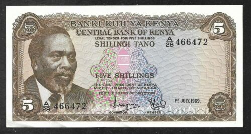Kenya - 5 Shillings Note - 1969 - P6a - AU