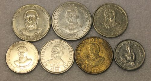 set of 7 different coins from Paraguay