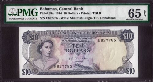 Bahamas 10 Dollars 1974 QEII Pick-38a GEM UNC PMG 65 EPQ
