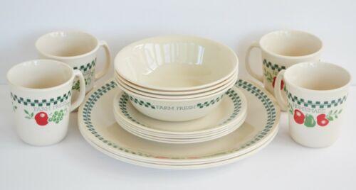 Corelle Corning Farm Fresh 17 Piece Dinner Set Service for 4 Plates Bowls Mugs