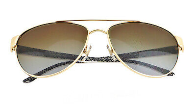 New VERSACE VE2145 1002/T5 58mm Gold and White Pilot Polarized Sunglasses Italy