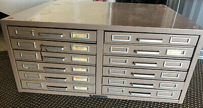 Steelmaster Metal Flat Card File Cabinet Industrial With Dividers