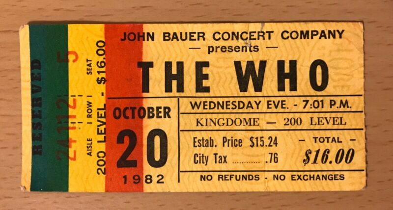 1982 THE WHO / THE CLASH SEATTLE CONCERT TICKET STUB LONDON CALLING COMBAT ROCK