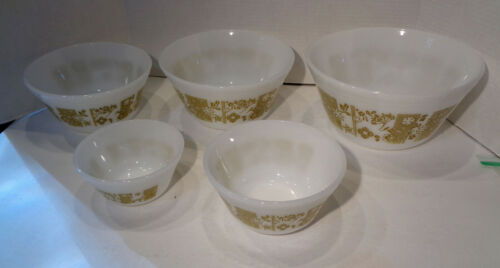 Set of 5 Vintage Federal Milk Glass Mixing Bowls with Olive Green Floral Designs
