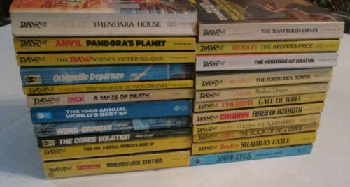 Lot of 22 Vintage Daw Books PB SciFi & Fantasy Novels OOP Horror Pulp Space RARE