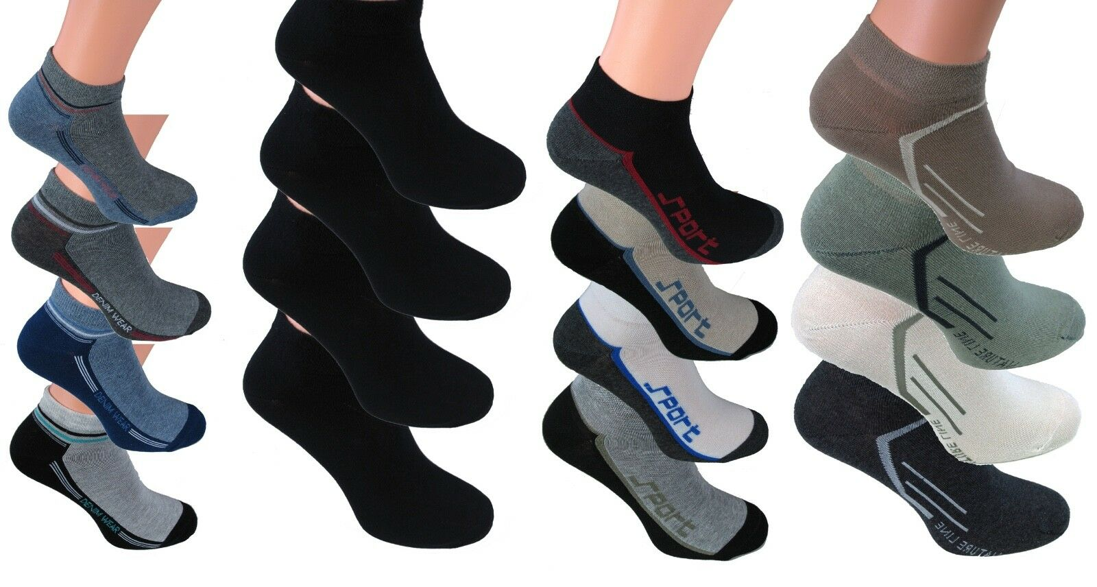 8 Paar kurze Sneakers Socken Herren Füßlinge halbe Socke kurz Baumwolle Bw kurze