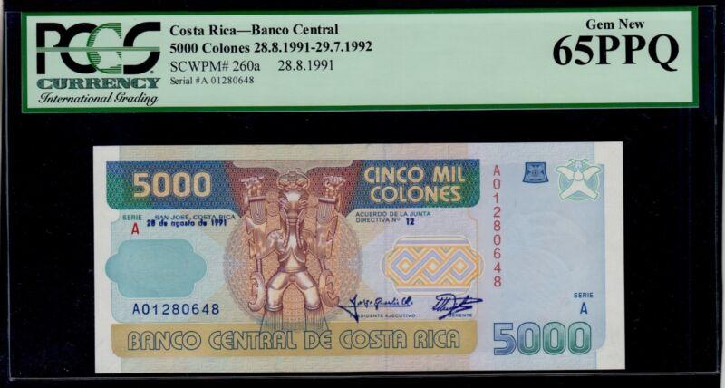 COSTA RICA 5000 COLONES 1991  PICK # 260a PCGS 65  GEM  NEW  PPQ.