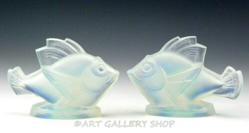 Sabino France Crystal Art Glass Figurine Paperweight OPALESCENT FISH Set of 2