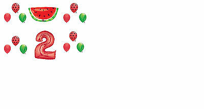 14 pc TUTTI FRUITI Balloons 2nd BIRTHDAY party WATERMELON second PICNIC - Picnic Party Favors