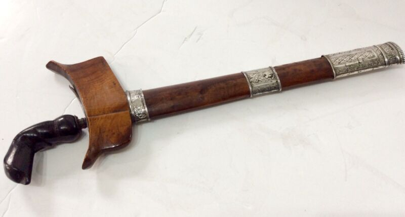 Indonesian Kris with Carved Horn handle and raw silver bands