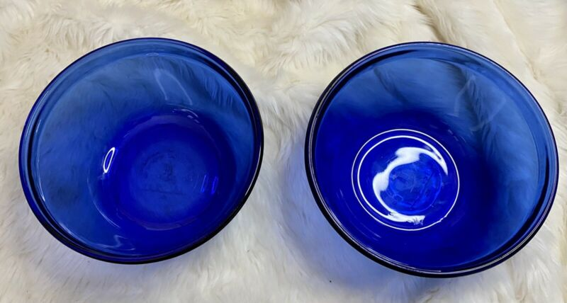 Lot Of 2 Anchor Hocking COBALT Blue Glass NESTING / MIXING Bowls 1.5 Quarts
