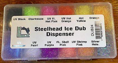 Steelhead Ice Dub Dispenser Hareline Dubbin 12 Colors Dubbing Fly Tying