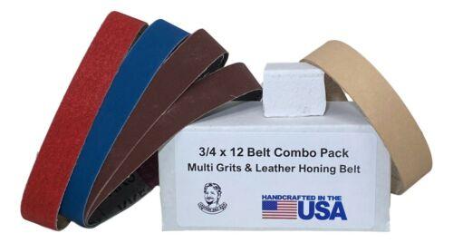 3/4 X 12 Replacement Belt Kit w/ Leather Honing Strop fits Ken Onion Worksharp