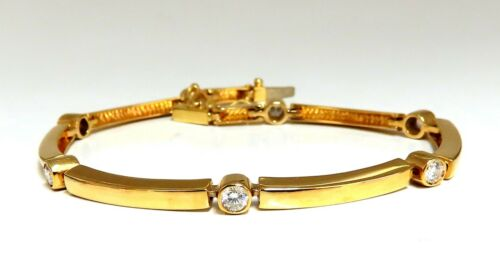 .80ct Natural Round Diamonds Arch Bar Link Bracelet 14 Karat