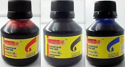 3 Camel Fountain Pen Ink BLACK BLUE RED Bottles 60 ml 2 oz Camlin 3 qty Sealed