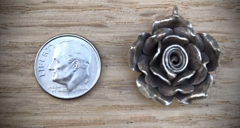 Large Hill Tribe Silver Rose Pendant