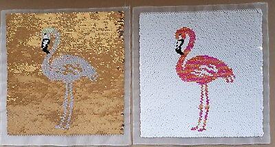Groß Flamingo (Wendepailletten Patch Flamingo, groß, zum Aufnähen (P14))