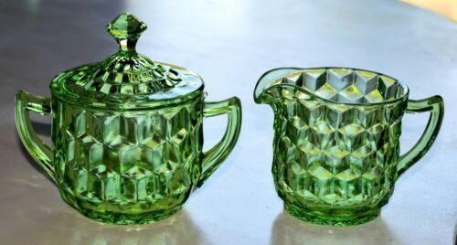 GREEN CUBE CUBIST JEANNETTE CREAMER & SUGAR BOWL w/ LID DEPRESSION GLASS VINTAGE