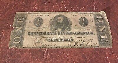 1862 - 1863 $1.00 Confederate States of America Notes