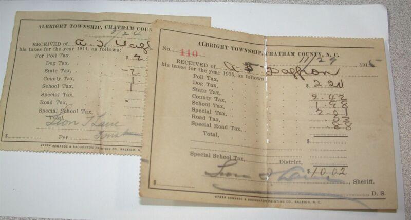 2 Tax Receipts A T DAFFRON Albright Township Chatham County, NC 1915