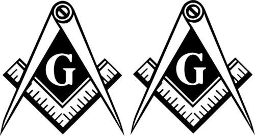 4 inch WHITE Vinyl Decal Masonic Emblem Tail light  2 pieces