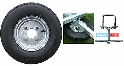 400 X 8 inch trailer wheel with 4 ply high speed tyre with SPARE WHEEL CARRIER