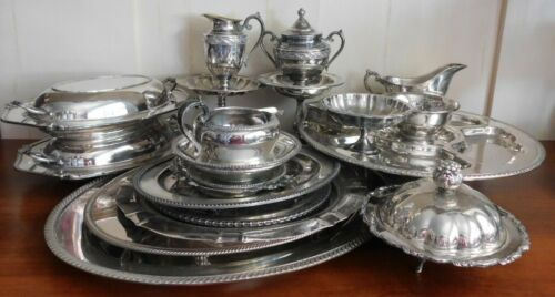 Large Lot Silverplate Silver Plate Various Manufacturers Pieces Early 1900