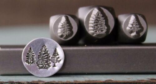 SUPPLY GUY 8mm & (2) 6mm Pine Tree Metal Punch Design 3 Stamp Set SGCH-197198200
