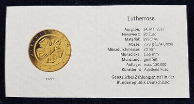 """Mds Alemania Certificado de Autenticidad para Monedas Oro 2017 """"Rosa Luterana"""" segunda mano  Embacar hacia Mexico"""