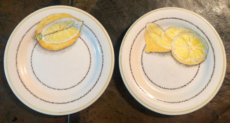 Gien France Citron De France Lemons Canape Appetizer Bread Plates Set Of 2