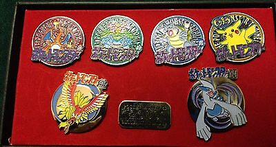 POKEMON JAPANESE MILLENIUM BADGE PIN SET COMPLETE (ALL 6 POKEMON)