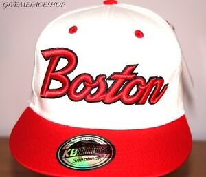 EXCLUSIVE-BOSTON-SNAPBACK-CAP-WHITE-FLAT-PEAK-FITTED-BLING-HAT-BRIM-ONE-SIZE