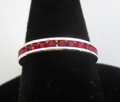 SIZE 5 3MM STERLING SILVER PLATED STACKABLE JULY RUBY WEDDING ETERNITY RING