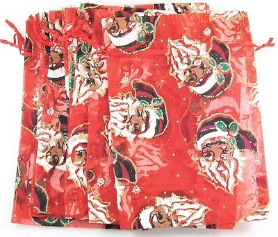 10 Red Sheer Fabric Christmas Santa Pouches Jewelry Gift Bags 4 12 X 7