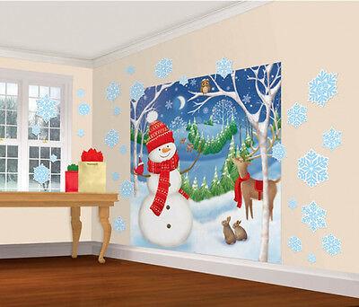 Weihnachten Schneemann Szene Party Dekoration Wand Szene Aufkleber Hintergrund ()