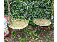 Two Vintage French Iron Garden Chairs