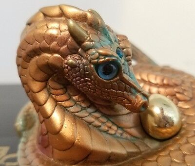 Windstone Editions Coiled Mother Dragon, Copper Patina -Teal Eyes
