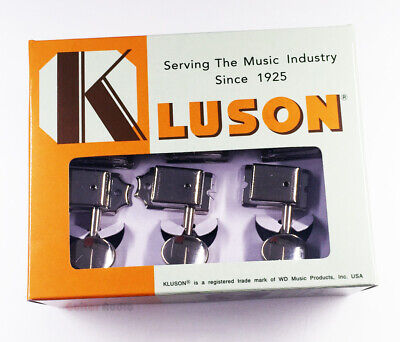 Kluson 6-In-Line Tuners Guitar Tuning Machine Keys - Nickel with Nickel Buttons ()
