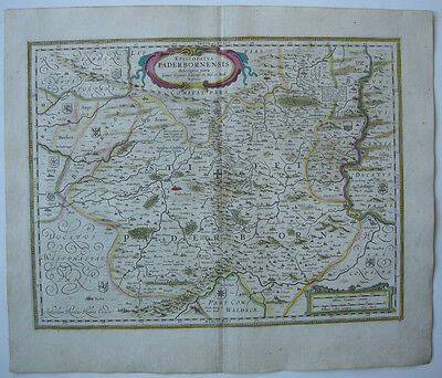 Paderborn altkolor Orig Kupferstichkarte Hondius 1627 Nordrhein Westfalen