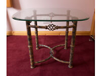 Glass Topped, Two tone metal base table