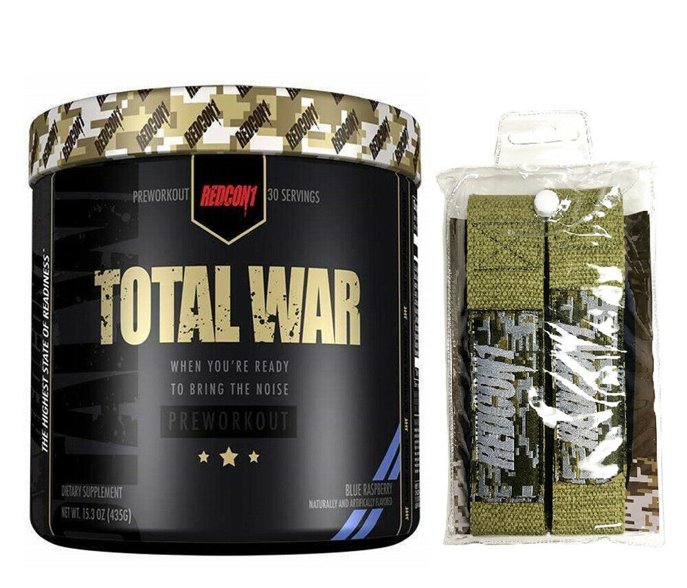 Redcon1 TOTAL WAR Pre-Workout 30 Servings + Lifting straps -
