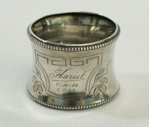 Antique 1906 Monogramed Birth & Death 830 Silver Sheffield Etched Napkin Ring