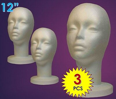 Wig Female Styrofoam Head Foam Mannequin Display 12 3pcs